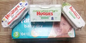 PAMPERS SIZE 3 AND 3 WIPES PACKS for Sale in Las Vegas, NV