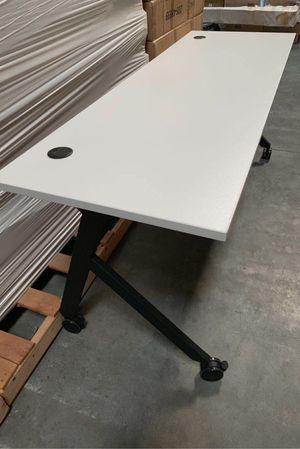 NEW 2 Person HON Flip Base White or Coffee Brown Laminate Office Computer Desk Conference Table 72x24x30 inches Tall Wheels Retail Value $500 for Sale in Covina, CA
