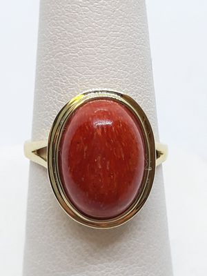14k yellow gold Coral cabochon ring 3 grams size 6 for Sale in Fort Pierce, FL