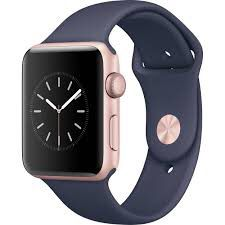 Apple Watch Series 2 38mm Smartwatch (Gold Aluminum Case, Midnight Blue Sport Band) for Sale in Sterling, VA