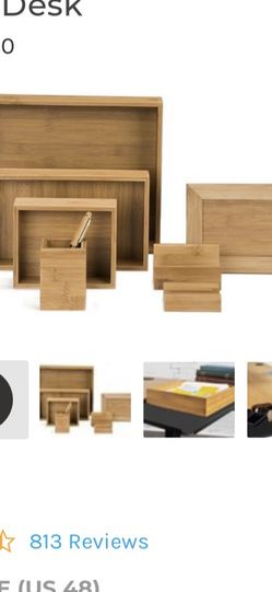New In Box! Bamboo Desk Organizer Set w/ Black Leather Desk Mat for Sale in Newport Beach,  CA
