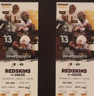 49'ers vs skins tickets!!!! for Sale in Silver Spring, MD