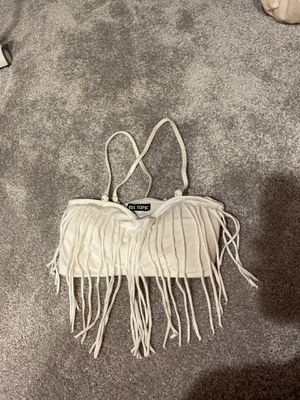 Hot topic large white fringe bandeau bra for Sale in Redwood City, CA