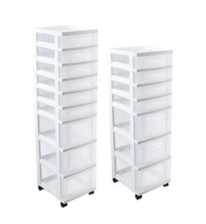 2 tall sliding plastic drawer storage bin rolling cart chest towers for Sale in San Mateo, CA