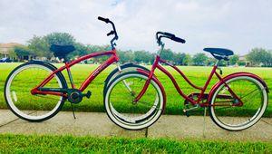 "2 Beautiful Red Beach Cruiser Bicycles 🎈1 Men's 26"" All Aluminum Frame & A USA made 24"" Ladies Beach Cruiser for Sale in Orlando, FL"