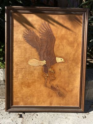 """1978 """"Bald Eagle"""" carved leather by Dennis D. Hamilton for Sale in Spring Valley, CA"""