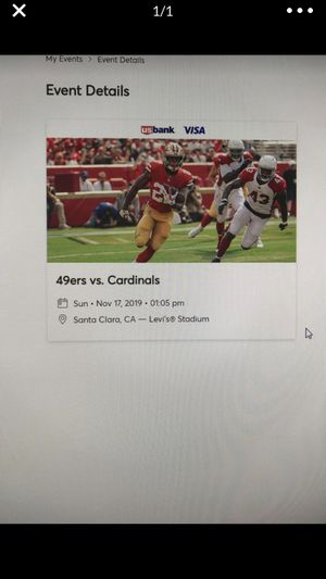 49ers vs. Cardinals, 4 tickets, Sunday 11/17 at 1:05pm for Sale in Hayward, CA