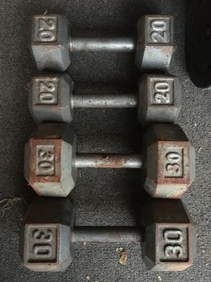 Set of 30 lb and 20 lb dumbbells sold together for Sale in Garland, TX