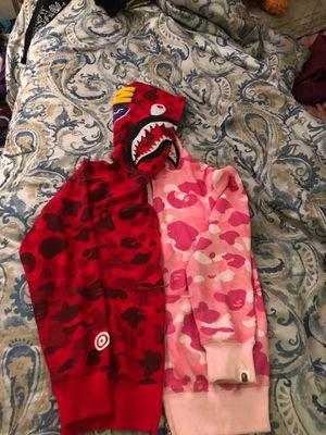 RED/PINK BAPE HOODIE size (L) for Sale in Jonesboro, GA
