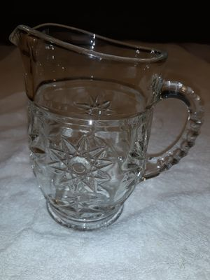 """AMERICAN BRILLIANT Cut Glass Crystal Creamer or Small Pitcher. 5 3/4"""" high, 4"""" wide, holds 2 cups for Sale in Washington, IL"""