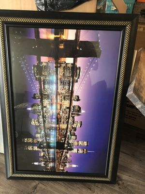 Framed glass picture of New York City Manhattan for Sale in San Diego, CA