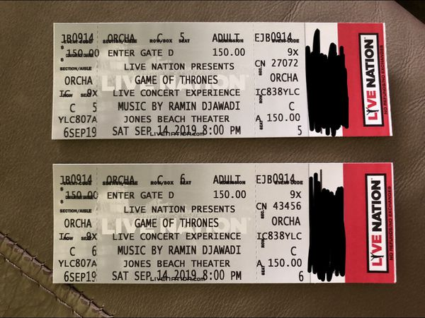 2 Game of Thrones music concert tickets