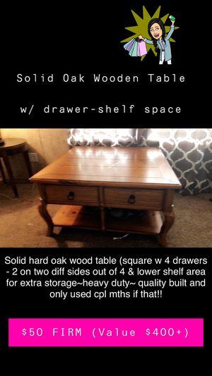 Beautiful Custom Made Heavy Duty Solid Oak Table w/perks! for Sale in Pierceton, IN