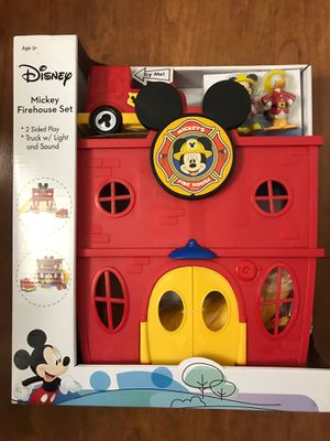 Brand new Disney Mickey Firehouse Set 2 Sided Play Truck With Light & Sound (pick up only ) for Sale in Alexandria, VA