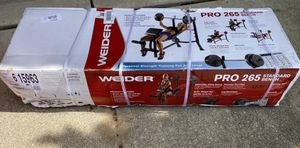 NEW Weider Pro 265 Standard Bench w/ Bar & 80lb Vinyl Weight Set for Sale in Macomb, MI