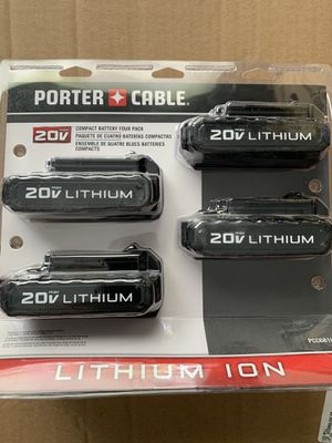 Porter Cable 20V Lithium Rechargeable Batteries 4 Pack BRAND NEW Factory Sealed package for Sale in Port Richey, FL