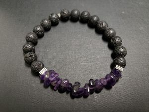 *NATURAL STONE- Amethyst Lava Rock Oil Essential Bracelet (master healer, calm emotions, health Benefits-see photo) for Sale in Rancho Cucamonga, CA