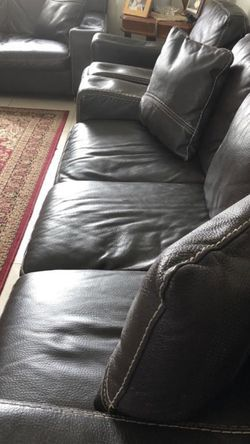 Set Of 3 (Long sofa, Love Sofa, & Arm Chair) Black Leather Couches for Sale in Dearborn,  MI