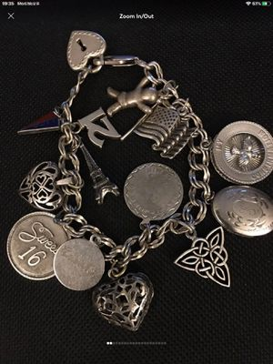 Sterling silver bracelet with charms for Sale in Lakeside, CA