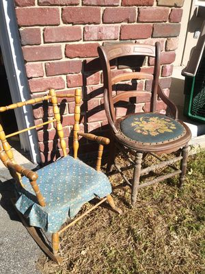 Antique chair with embroidered cushion and childs roocking chair for Sale in Plattsburg, MO