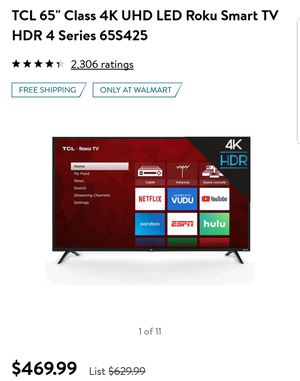 """Brand New 65"""" TCL 4K Smart TV for Sale in Costa Mesa, CA"""