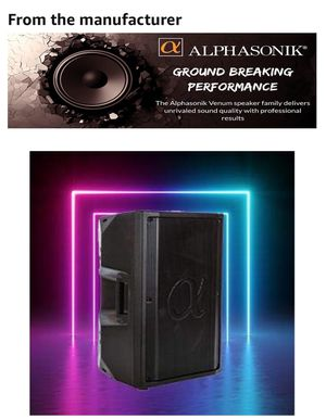 "Alphasonik PRO Venum Series High Performance V815BT 15"" 1000 Watts Professional Powered DJ Speaker Built-in Bluetooth USB AUX Inputs EQ Amplified Lou for Sale in Los Angeles, CA"
