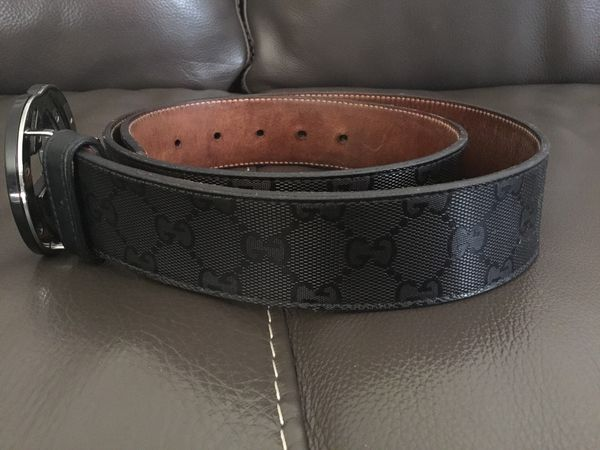 Gucci Men Belt Black Double G pattern, Made in Italy (1 owner! Bought new in 2013)