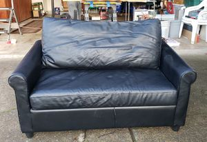 Twin Hide-a-bed Black Vinyl couch, sofa for Sale in Beaverton, OR
