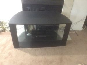 Tv stand made with wood and glass for Sale in Dallas, TX