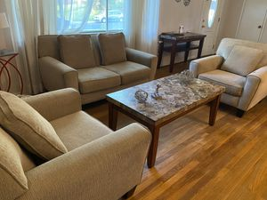 $ 200 table, refrigerator $ 100, wine sofa $ 100, sofa set 3 pieces $ 350, living room furniture $ 300, wardrobe $ 300 all in good condition with goo for Sale in Aspen Hill, MD