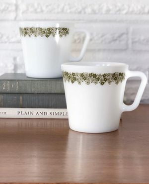 Pair of vintage Pyrex mugs with green floral design / microwave safe / $14 set for Sale in Hillsboro, OR