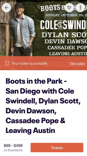 Boots in the park- general admission tickets $60 each for Sale in La Mesa, CA