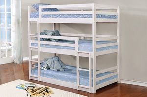 Just $50 down - New Sandler triple twin bunk bed- removable beds - brown or white for Sale in Miami, FL