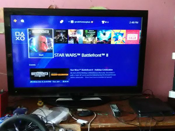Toshiba 46 inch TV with remote control and 4 HDMI ports