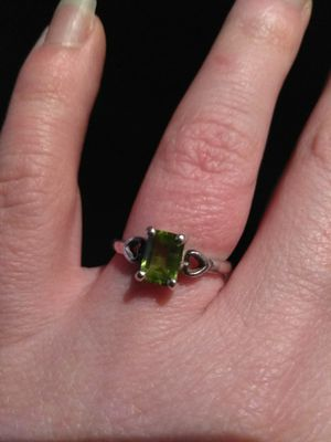 Stamped 925 Sterling Silver Filled 14k White Gold Plated Emerald Cut Peridot Ring With Heart Band August Birthstone for Sale in Gresham, OR