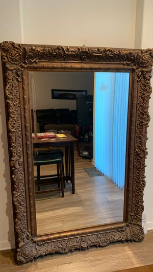 Mirror Large Floor, Full Length , Gold engraved mirror for Sale in Corona, CA