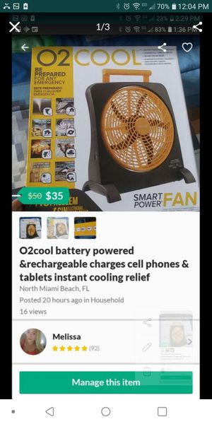 O2cool battery powered and rechargeable charges cell phones and tablets for Sale in North Miami Beach, FL