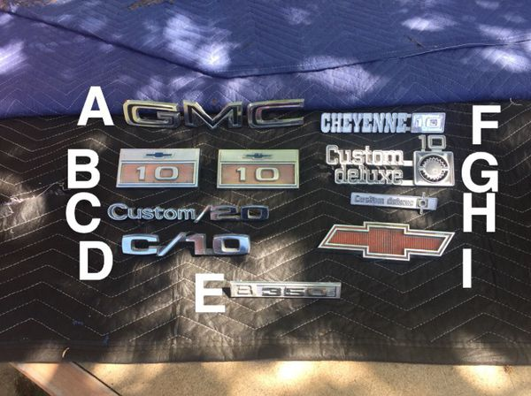 C10 c20 c30 Chevy Gmc truck emblems