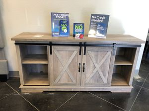 Farmhouse barn door tv stand for Sale in Lewisville, TX