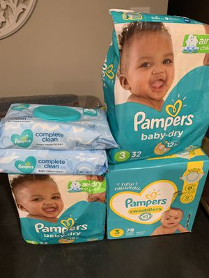 Size 3 diapers, wipes for Sale in Smyrna, GA