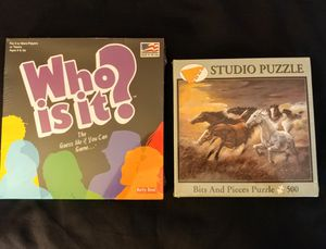 New in box 500 piece horse puzzle & a new in box Who is it board game, take both for $10 cash. for Sale in Sayreville, NJ