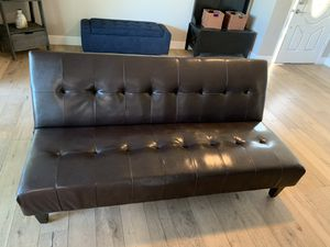 Dark Brown chocolate Leather futon for sale for Sale in Scottsdale, AZ