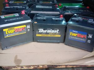 New car batteries all sizes start at $50 with old battery trade in we for Sale in Los Angeles, CA
