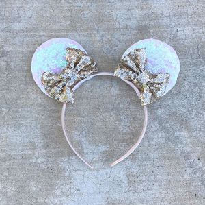 Mickey Mouse Handmade Sequin Bowtique Ears in Gold for Sale in Palo Alto, CA