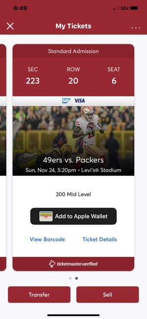 49ers vs Packers 11/24 for Sale in Sunnyvale, CA