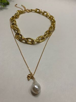 Long Link Chain Cool Simple Imitation Pearl Choker Chunky Bead Necklace for Sale in Los Angeles, CA