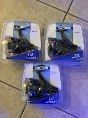 3 brand new and different sizes Shimano spinning fishing reels for Sale in Sun City, AZ