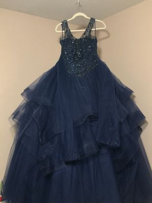 Navy blue quinceanera dress size 8 for Sale in Dallas, TX