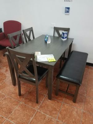 "6-PCS DINING SET (1 TABLE 60"""" + 4 CUSHIONED CHAIRS + 1 CUSHIONED BENCH) IN VARNISH OAK AND BONDED LEATHER for Sale in Irving, TX"