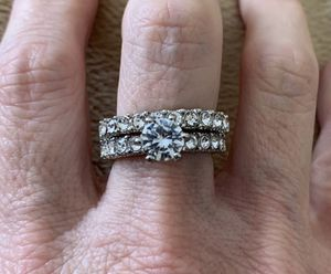 New 2 piece CZ silver wedding ring size 8 for Sale in Inverness, IL